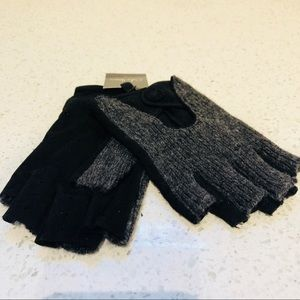 Cole Haan Fingerless leather cashmere gloves